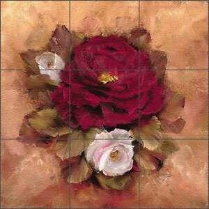 Floor Tile Medallion Mural Cook Roses Flowers Floral Art CC024