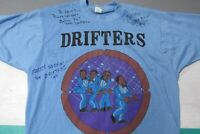 VTG The Drifters 70's Baby Blue Tour Shirt Adult XL Autographed Screen Stars