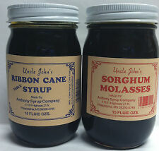Uncle Johns Ribbon Cane Table Syrup and Sorghum Molasses Sampler Glass Pints