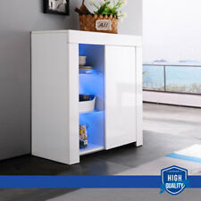 High Gloss White Rgb Led Sideboard Cabinet Cupboard Buffet with Door & Shelf