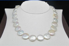 "Beautiful Charming Natural 12-13MM White SOUTH SEA Coin Pearl Necklace 20""AAA+"