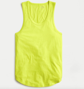 J Crew Tank Top Womens Medium New Bright Kiwi Yellow Longline Layering Textured