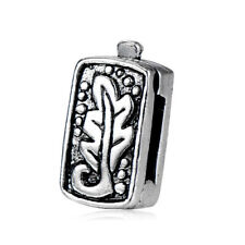 5X Silver Plated Leaf Stopper Square Beads Charms for Chain Bracelet Crafts DIY