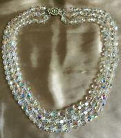 VINTAGE Triple 3 Strand Aurora Borealis Necklace Decorative Marcasite Clasp #3