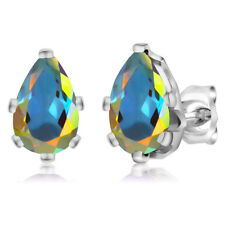 2.00 Ct Mercury Mist Mystic Topaz 925 Silver 6-Prong Stud Earrings 8x