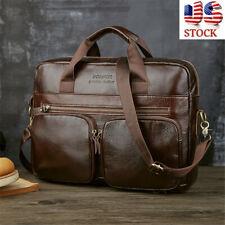 US Men Genuine Leather Briefcase Business Laptop Messenger Shoulder Bag