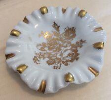 """Porcelaine De France Gold Rose Ruffled  Bon Bon Dish Hand Painted 5 1/2"""""""