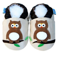 Boy Girl Shoes Soft Sole Leather Baby Infant Kids Children Owl Beige Crib 0-6M