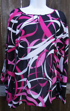DRESS BARN 2 PC BLACK MULTI CASUAL GEOMETRIC POLYESTER ¾ SLEEVE BLOUSE 14/16 XL