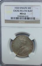 STRAITS 1920  NGC MS63 50  CENTS GRADED