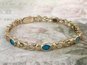 """9ct Yellow Gold Fancy Link Opal Bracelet  6.5""""  A9173"""