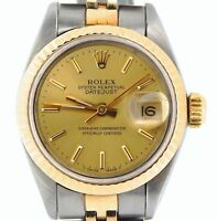 Rolex Datejust Ladies 2Tone Yellow Gold & Steel Watch Champagne Dial 69173