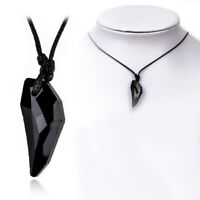 Black Obsidian Couples Necklace Wolf Tooth Amulet Spike Necklaces Jewelry