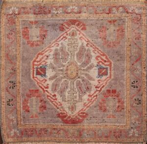 Geometric Brown Authentic Oushak Turkish Area Rug Oriental Hand-knotted WOOL 2x2