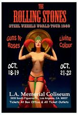 Rolling Stones - STEEL WHEELS Tour  - Oct 1989 LA Colisem -Poster 13 x 19 -Nice!