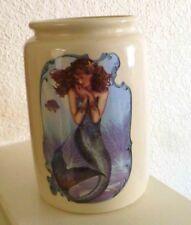Mermaid Crock Jar Sea Nautical Mythical Fantasy Bath, Bar, Kitchen, She Shed