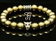 Hämatit gold / Hematit silberfarbener Leopardenkopf Armband Perlenarmband 8mm