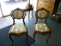 Pair of Antique French Walnut Parlor CHairs, Small Scale