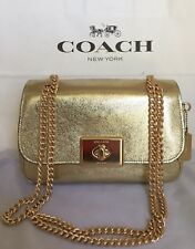 b8539d98528a Coach F38937 Crinkle Metallic Im white Gold Leather Cassidy Crossbody Purse