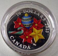 """2013 CANADA $20 """"CANDY CANE"""" SILVER PROOF COIN w MURANO GLASS BOX/COA"""