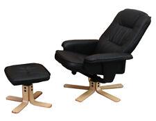 Relaxsessel H56, Fernsehsessel TV-Sessel mit Hocker, Kunstleder schwarz