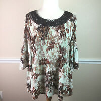 Catherines Womens Top Brown Floral 3/4 Sleeve Stretch Applique Plus Size 2X 22W