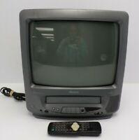 Memorex MVT2135B 13 Inch CRT VCR Player TV Retro Gaming A/V Inputs & Remote