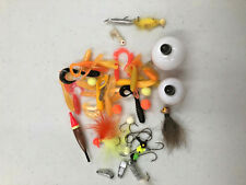 F5 Lot misc. fishing tackle bobbers jigs weighted and floater rubber bodies hook