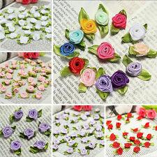 100PCS Mini Satin Ribbon Rose Flower Leaf Wedding Applique Sewing DIY Decoration