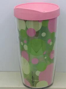 Green & Pink Polka Dot TERVIS 16 Oz. Tumbler with Lid New Travel Mug