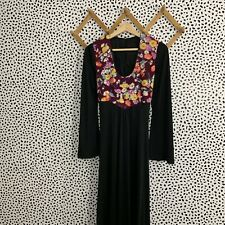 Vintage Dress 1960s Bell Sleeve Hippie Maxi Small