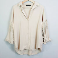 ZARA | Womens Oversized Shirt Top w/ Fringes [ Size M or AU 12 / US 8 ]
