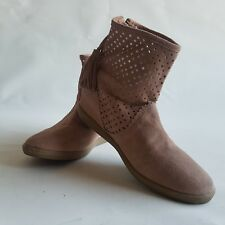 C24 Next Women's Brown Leather Ankle Cowboy Tassel Punched Boot UK4 Tan Suede