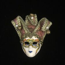 Vintage Hand Crafted, Hand Painted Porcelain Wall Art Mini Mask