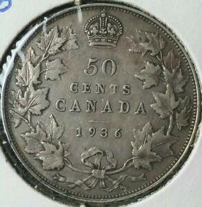 1936 Canada 50c Silver Half Dollar