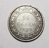 Canada 1881 Newfoundland Silver 50 Cents Half Dollar Coin