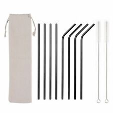 8x Premium Stainless Steel Black Reusable Straws, 2 Clean Brush, Eco Travel Bag