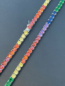 Tennis Chain SOLID 925 Sterling Silver Single Row Rainbow Diamond Necklace ITALY
