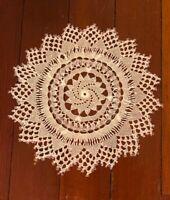 "VINTAGE HANDMADE OFF WHITE 9"" ROUND NEEDLEWORK Crochet Doilies"
