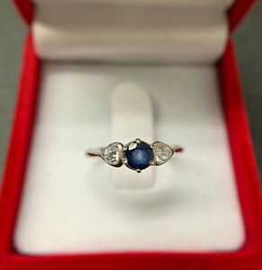 Natural 0.4 Ct Blue Sapphire&White Topaz Ring Gem 925 Silver Wedding Wife SZ 7