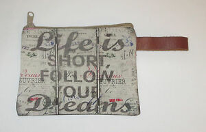 Life Is Short Follow Your Dreams Makeup Bag Zippered Pouch Leather Strap New