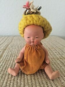 "Vintage 1940s Cute 3.75"" Bisque Japan Baby Doll"