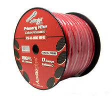 0 Gauge Red Power Ground Wire Audiopipe Cable 100ft Roll Copper Clad Aluminum