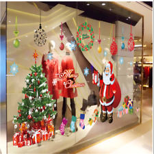 Santa Claus Christmas Tree Removable Glass Wall Sticker Decals Art Xmas Decor