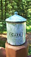 Antique Green Swirl French Graniteware Enamelware Cafe Coffee Kitchen Canister