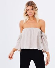 BRAND NEW BACKSTAGE RIANNA OFF SHOULDER BARDOT TOP IN CHAMPAGNE | SZ M OR 12