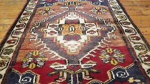 "Beautiful 1950-1960's Vintage 2""× 3"" Natural Dye, Wool Pile Tribal Rug"