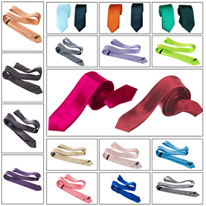 MENS TIES MULTICOLOR PLAIN SMART THIN SATIN FOR NEW YEAR EVE WEDDING NECK TIE