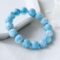 10mm 6.3'' Natural Blue Larimar Gemstone Round Beads Water Pattern Bracelet Gift