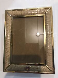 Rare Vintage Gucci Brass Snake Skin Picture Frame Made in Italy Wood Back 4 X 6